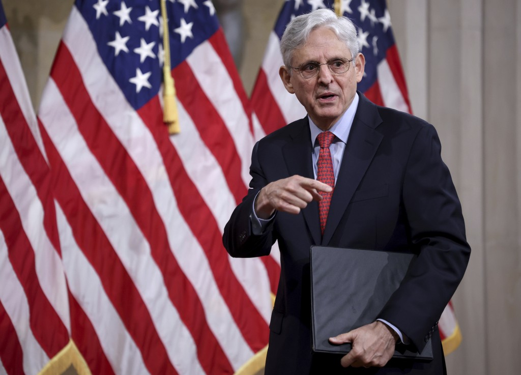 FILE - In this Tuesday, June 15, 2021, file photo, Attorney General Merrick Garland departs after speaking at the Justice Department in Washington. Th...