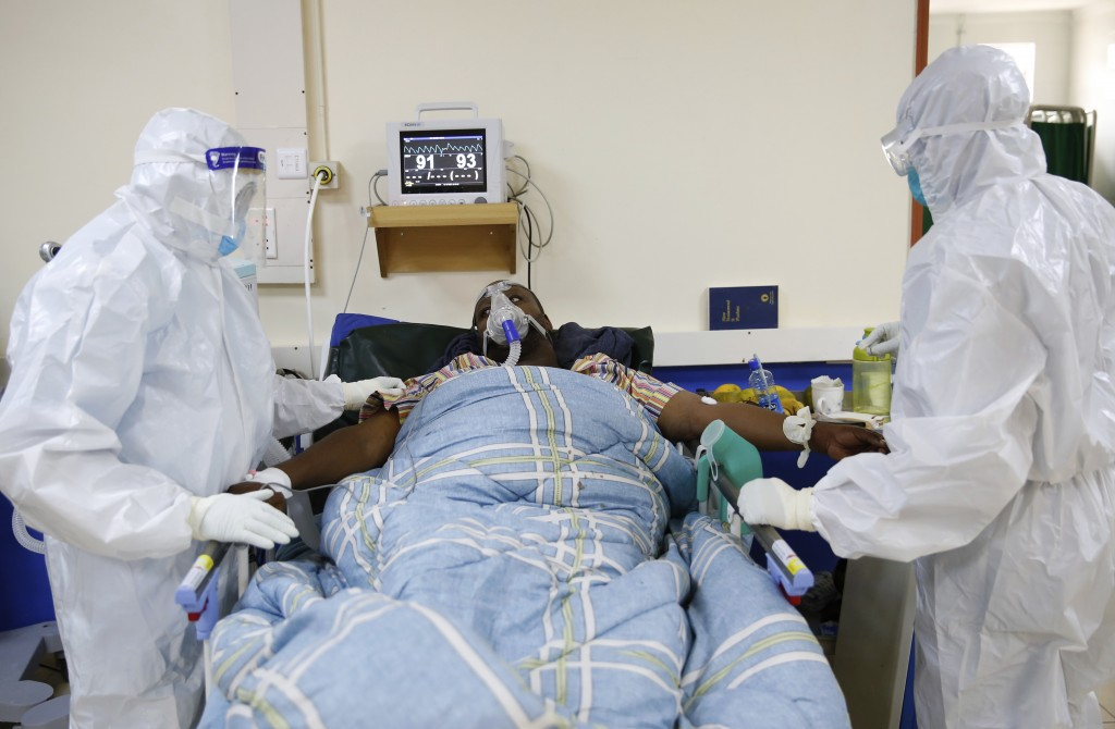 Medical staff wearing protective equipment attend to patients affected by the COVID-19, at the Intensive Care Unit (ICU) of the Machakos County Level-...