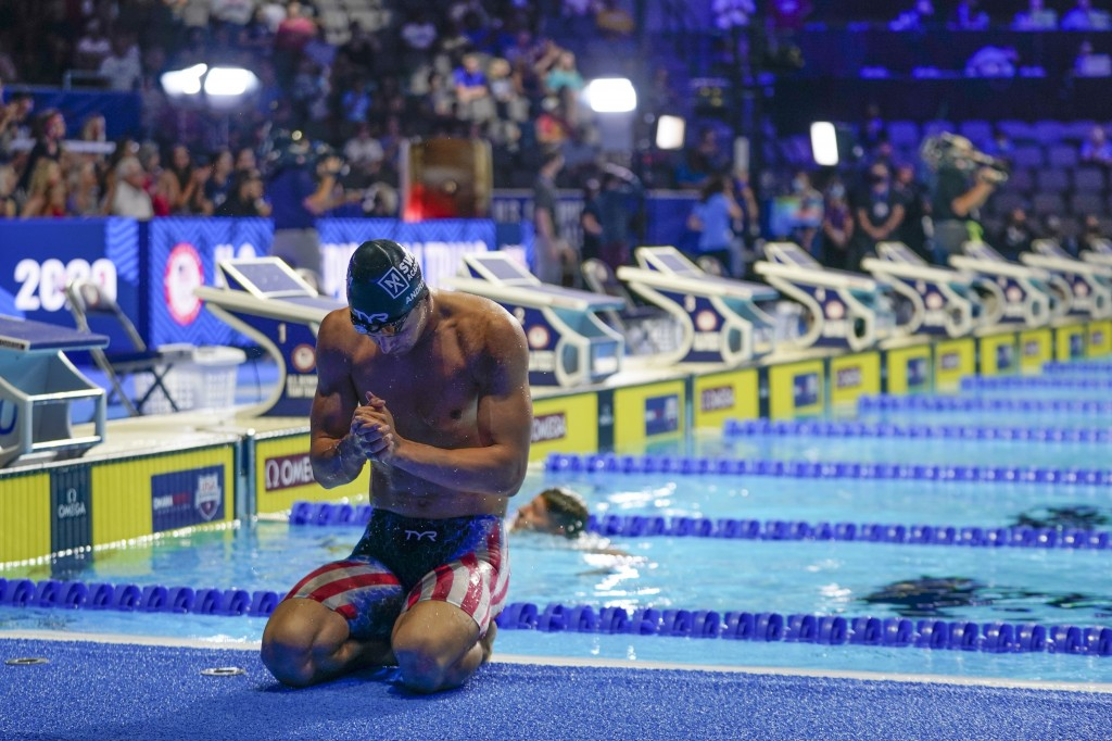 Michael Andrew after winning the men's 200 individual medley during wave 2 of the U.S. Olympic Swim Trials on Friday, June 18, 2021, in Omaha, Neb. (A...