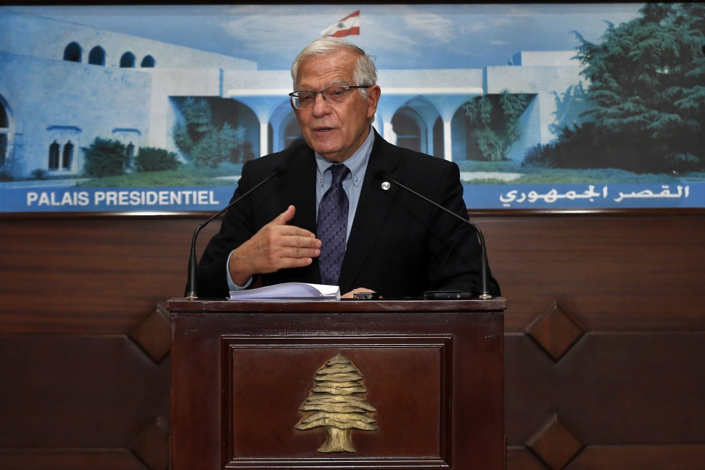 European Union foreign policy chief Josep Borrell, speaks during a press conference after his meeting with Lebanese President Michel Aoun at the Presi...
