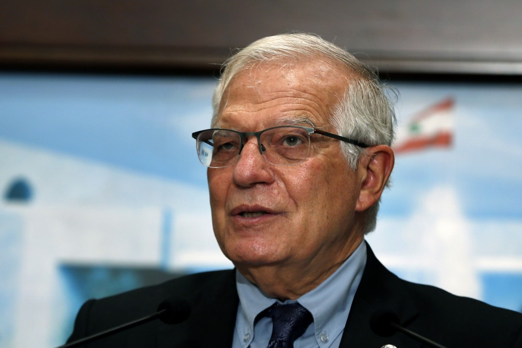European Union foreign policy chief Josep Borrell speaks during a press conference after his meeting with Lebanese President Michel Aoun at the Presid...