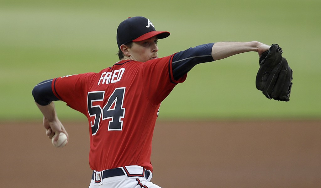 Atlanta Braves pitcher Max Fried works against the St. Louis Cardinals in the first inning of a baseball game Friday, June 18, 2021, in Atlanta. (AP P...