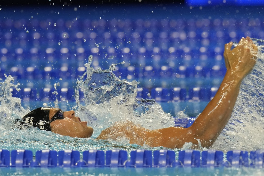 Michael Andrew participates in the men's 200 individual medley during wave 2 of the U.S. Olympic Swim Trials on Friday, June 18, 2021, in Omaha, Neb. ...