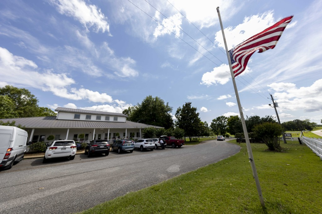 The Us Flag flies at half mast Sunday, June 20, 2021, in Camp Hill, Ala.,  at the Alabama Sheriff's Girls Ranch which suffered a loss of life when the...