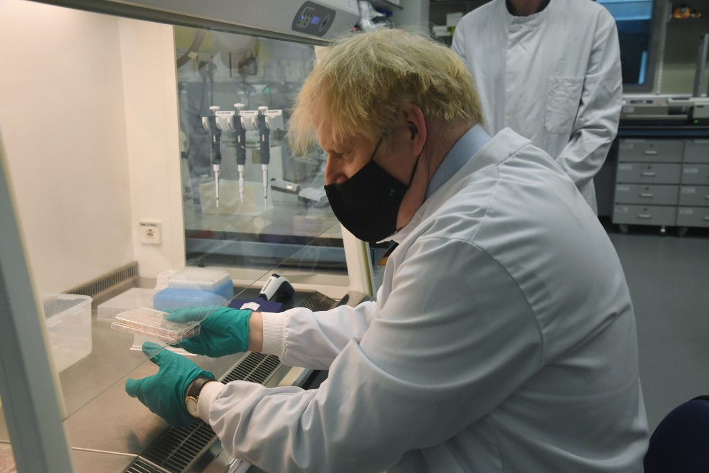 British Prime Minister Boris Johnson during a visit to The National Institute for Biological Standards, in South Mimms, England, Monday June 21, 2021....