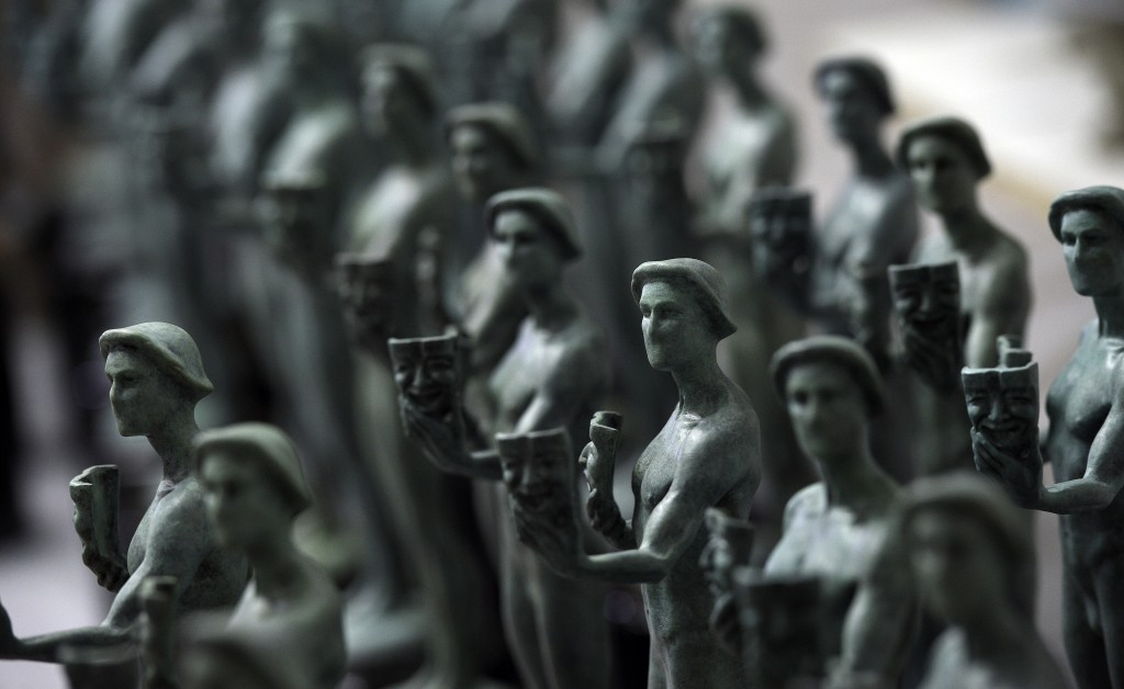 FILE - Finished Actor statuettes are displayed during the 25th annual Casting of the Screen Actors Guild Awards at American Fine Arts Foundry on Jan. ...