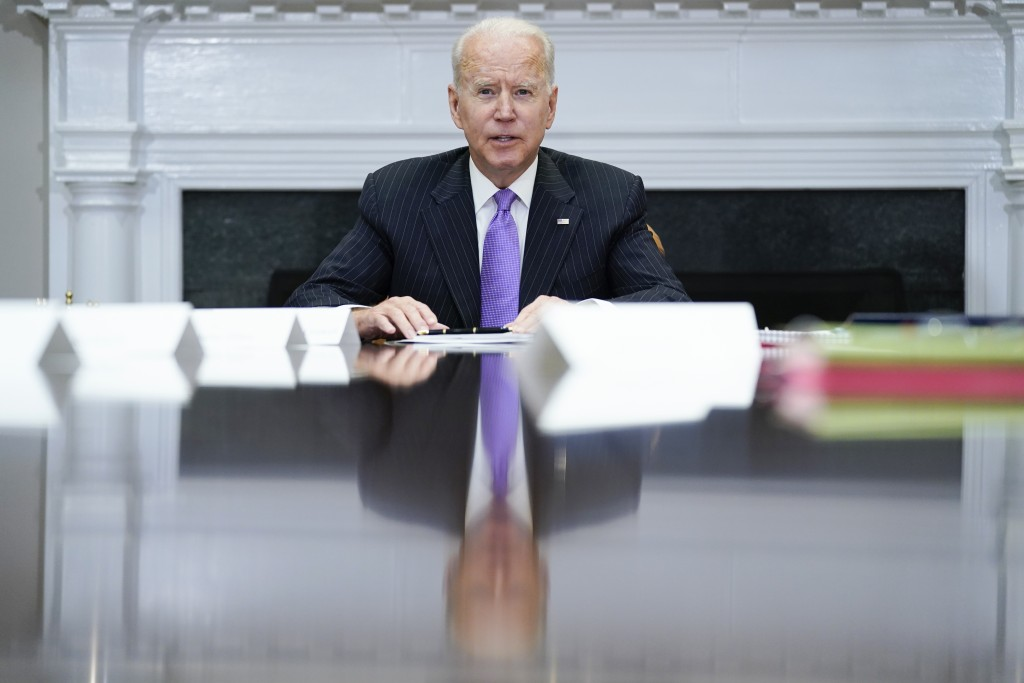 President Joe Biden speaks during a meeting with FEMA Administrator Deanne Criswell and Homeland Security Adviser and Deputy National Security Adviser...