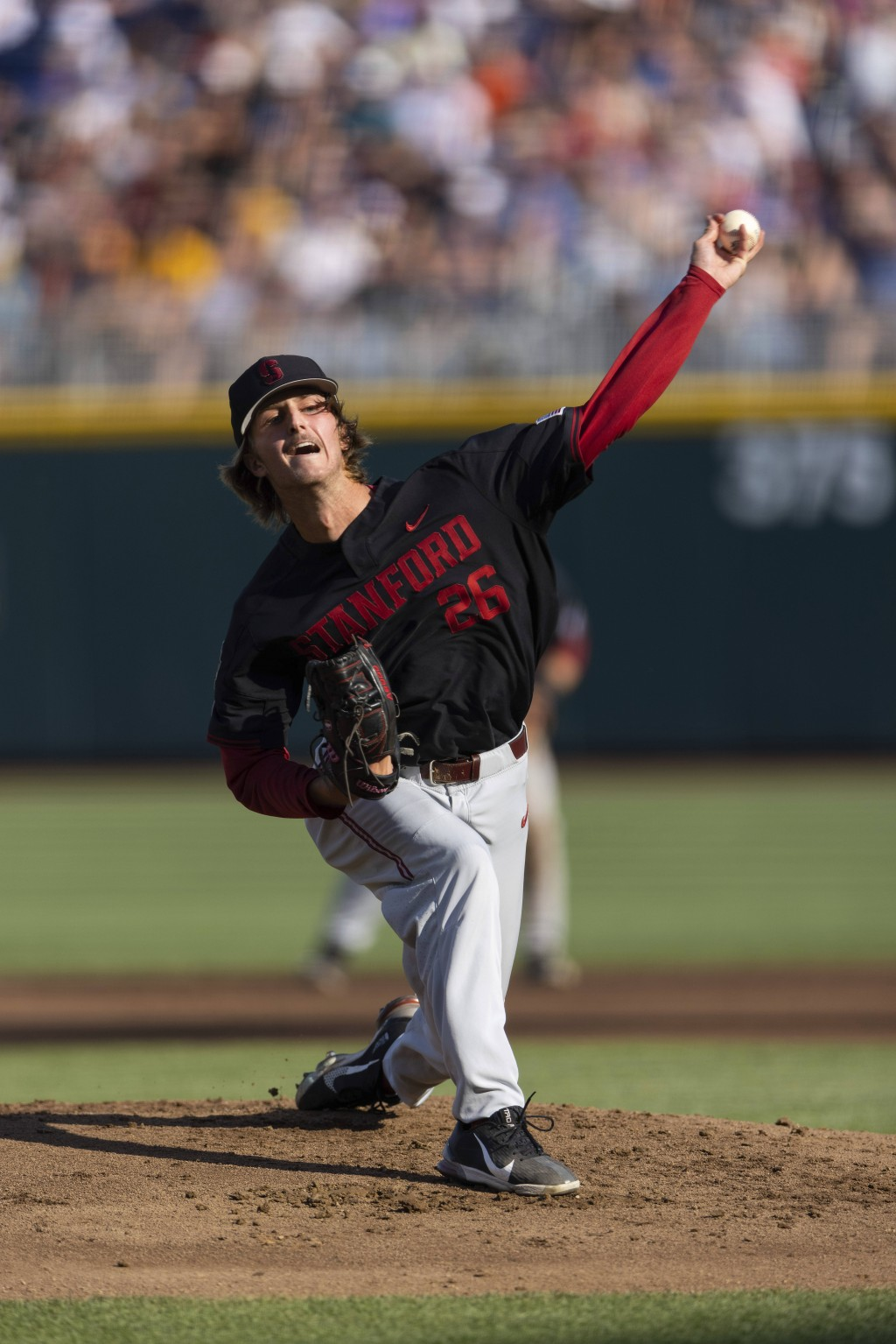 Stanford starting pitcher Quinn Mathews (26) throws against Vanderbilt in the first inning during a baseball game in the College World Series Wednesda...