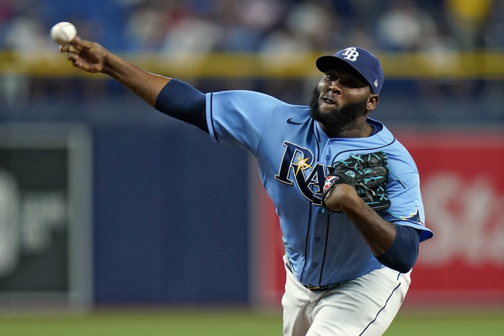 Tampa Bay Rays relief pitcher Diego Castillo delivers to the Boston Red Sox during the ninth inning of a baseball game Wednesday, June 23, 2021, in St...