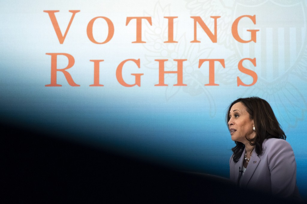 Vice President Kamala Harrisspeaks about voting rights, Wednesday, June 23, 2021, during a virtual event at the South Court Auditorium on the White H...