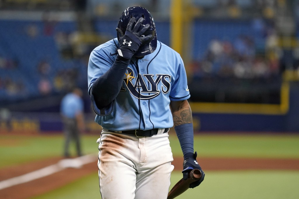 Tampa Bay Rays' Wander Franco reacts after striking out againt Boston Red Sox relief pitcher Yacksel Rios during the fourth inning of a baseball game ...
