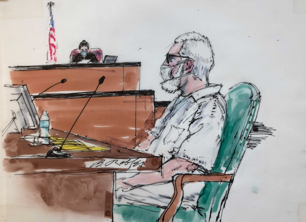 In this courtroom artist sketch Tahawwur Rana, appears during an extradition hearing in federal US court in Los Angeles, Thursday, June 24, 2021. A fe...