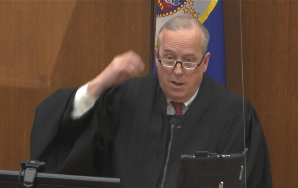 FILE - In this April 15, 2021 file image from video, Hennepin County Judge Peter Cahill, speaks during the trial of former Minneapolis police Officer ...