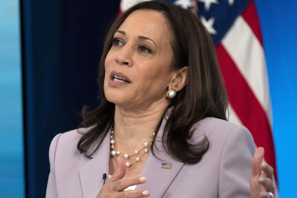 In this June 23, 2021, photo, Vice President Kamala Harrisspeaks in the South Court Auditorium on the White House complex in Washington. Harris faces...