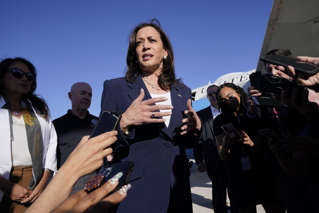 Vice President Kamala Harris talks to the media after stepping off Air Force Two, Friday, June 25, 2021, on arrival to El Paso, Texas. Harris will vis...