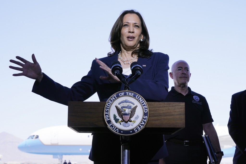 Vice President Kamala Harris talks to the media, Friday, June 25, 2021, after her tour of the U.S. Customs and Border Protection Central Processing Ce...
