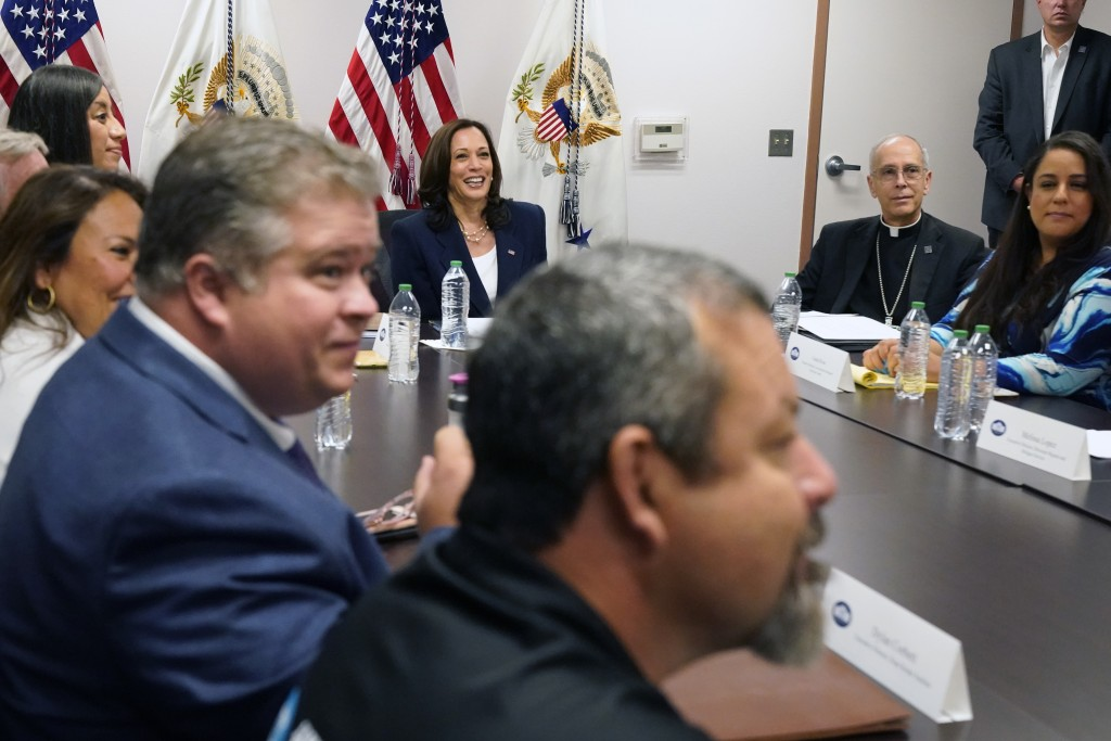 Vice President Kamala Harris holds a roundtable discussion with advocates from faith-based NGOs (non-governmental organizations), and shelter and lega...