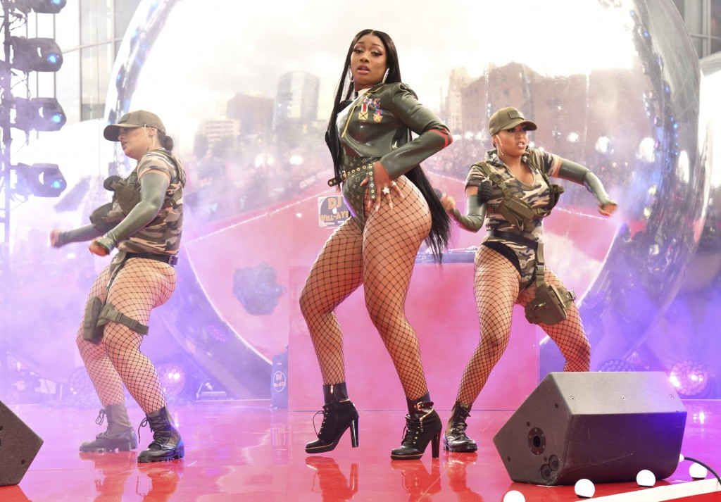 FILE - In this Aug. 26, 2019, file photo, Megan Thee Stallion performs at the MTV Video Music Awards in Newark, N.J.. The rapper will perform at Sunda...