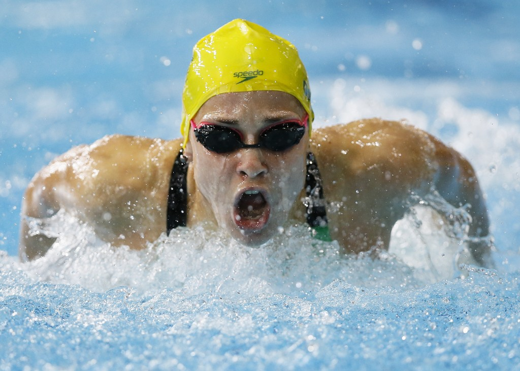 FILE - In this July 28, 2014, file photo, Maddie Groves of Australia swims to win silver in the Women's 200m Butterfly final at the Tollcross Internat...