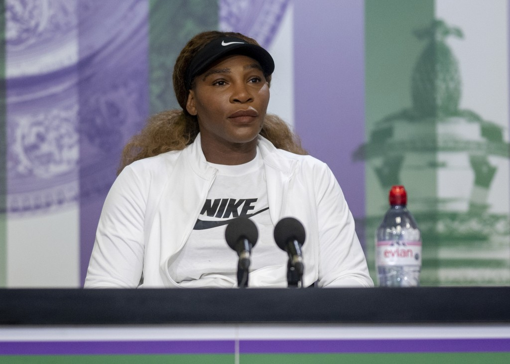 USA's Serena Williams attends a press conference, ahead of the Wimbledon Tennis Championships, in London, Sunday, June 27, 2021. (Florian Eisele/Pool ...