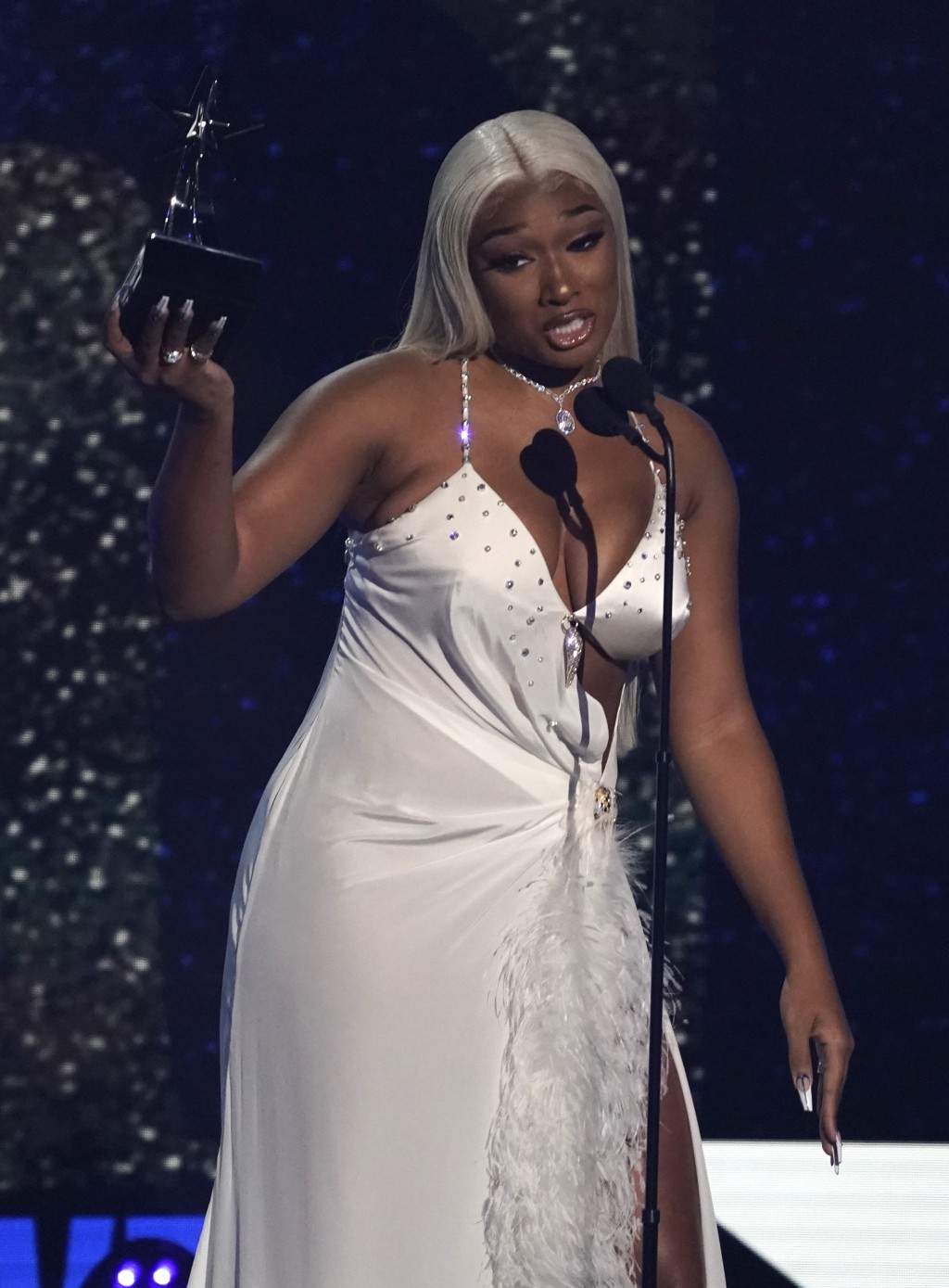 """Megan Thee Stallion accepts the award for video of the year for """"WAP"""" at the BET Awards on Sunday, June 27, 2021, at the Microsoft Theater in Los Ange..."""