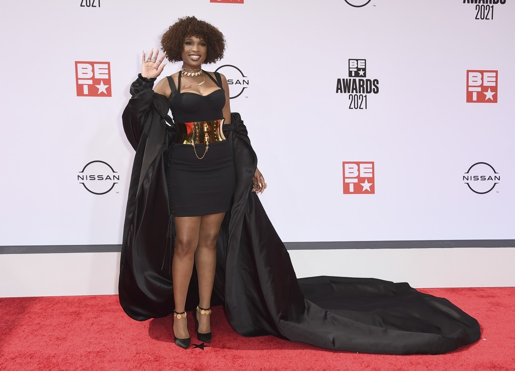 Jennifer Hudson arrives at the BET Awards on Sunday, June 27, 2021, at the Microsoft Theater in Los Angeles. (Photo by Jordan Strauss/Invision/AP)