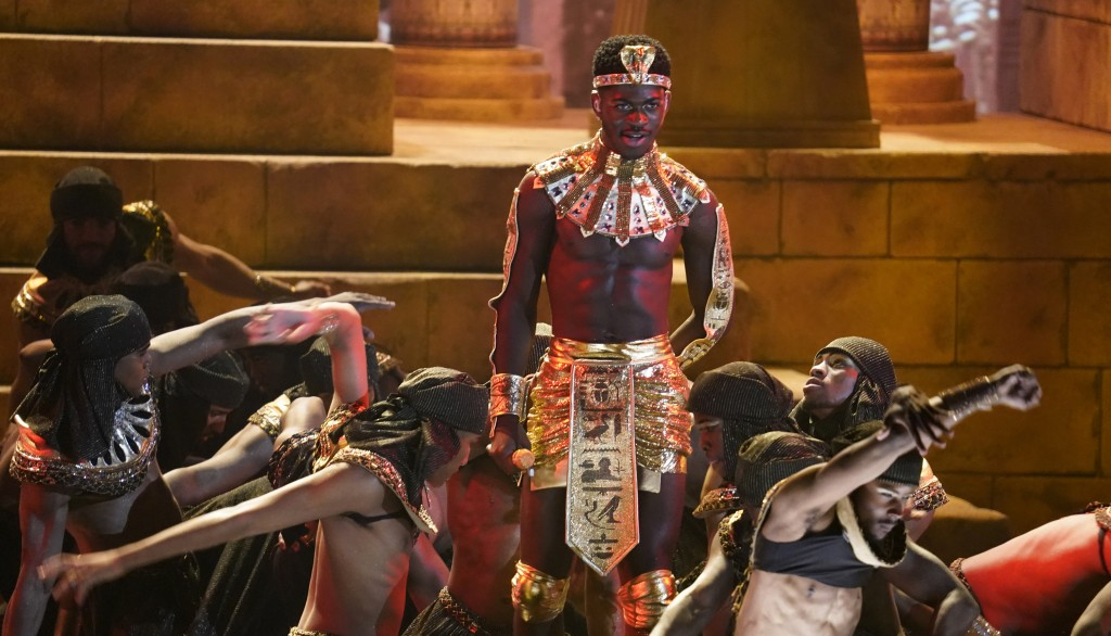 """Lil Nas X performs """"Call Me By Your Name"""" at the BET Awards on Sunday, June 27, 2021, at the Microsoft Theater in Los Angeles. (AP Photo/Chris Pizzell..."""
