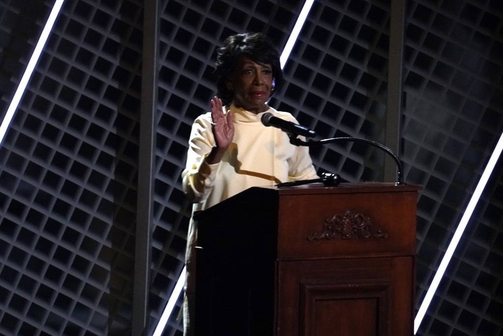 Rep. Maxine Waters, D-Calif. speaks before a performance by Jazmine Sullivan at the BET Awards on Sunday, June 27, 2021, at the Microsoft Theater in L...