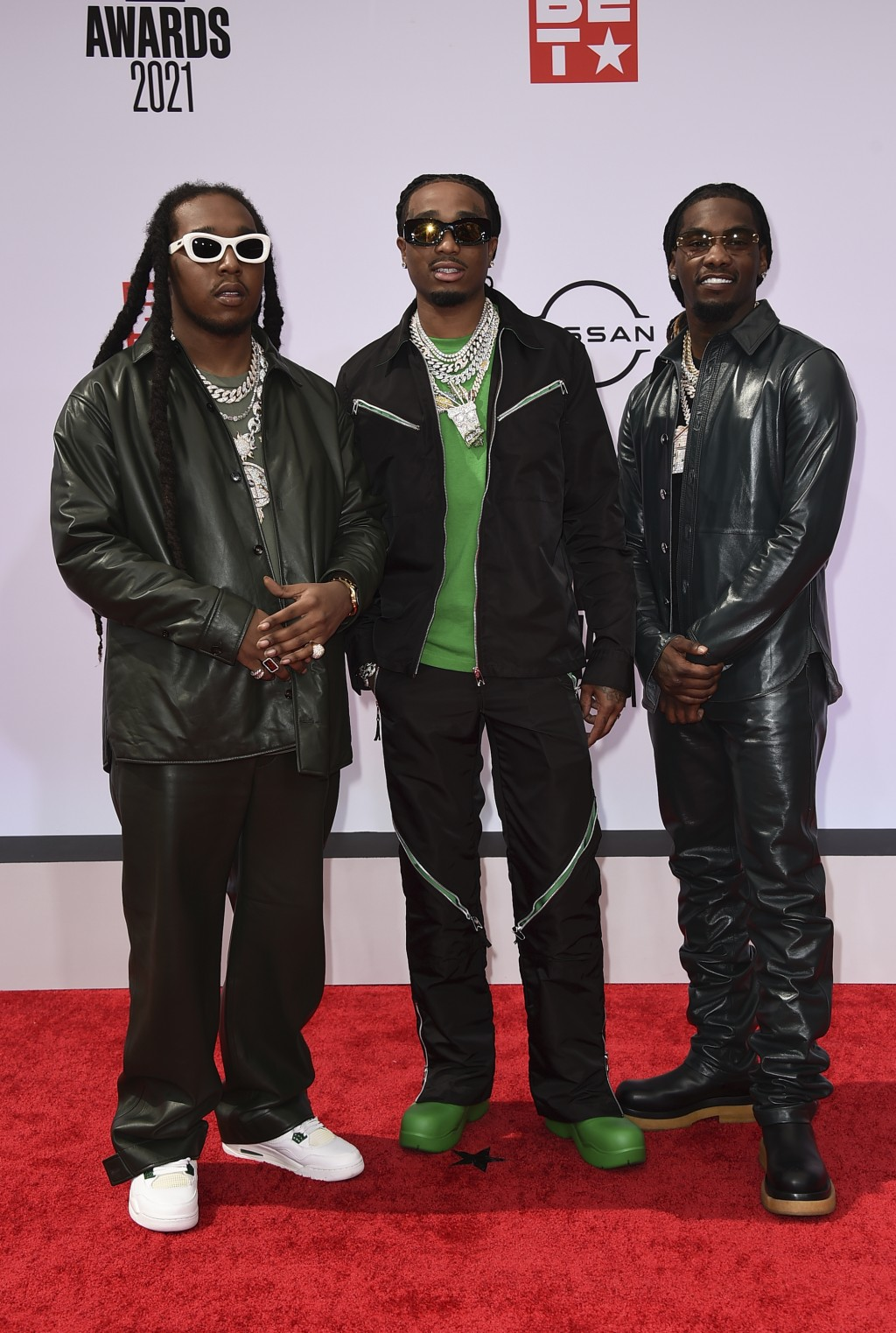 Takeoff, from left, Quavo and Offset, of Migos, arrive at the BET Awards on Sunday, June 27, 2021, at the Microsoft Theater in Los Angeles. (Photo by ...