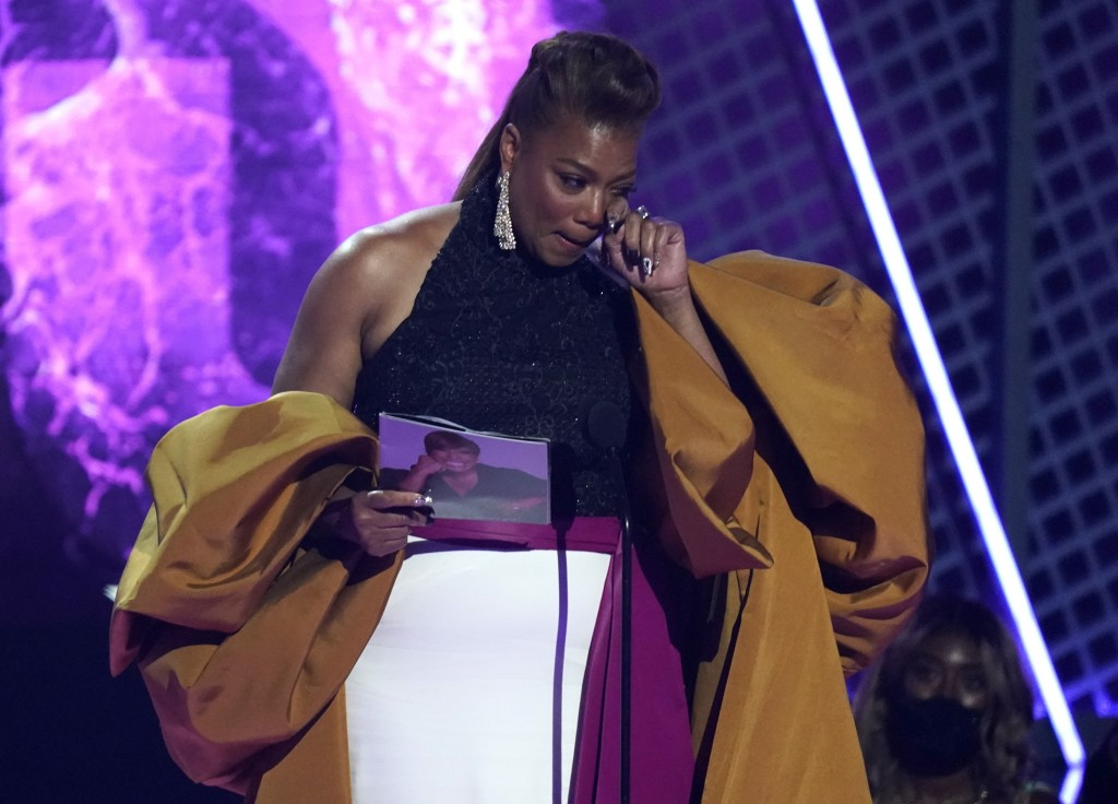 Queen Latifah accepts the lifetime achievement award at the BET Awards on Sunday, June 27, 2021, at the Microsoft Theater in Los Angeles. (AP Photo/Ch...