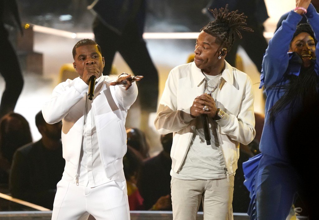"""Kirk Franklin, left, and Lil Baby perform """"We Win"""" at the BET Awards on Sunday, June 27, 2021, at the Microsoft Theater in Los Angeles. (AP Photo/Chri..."""