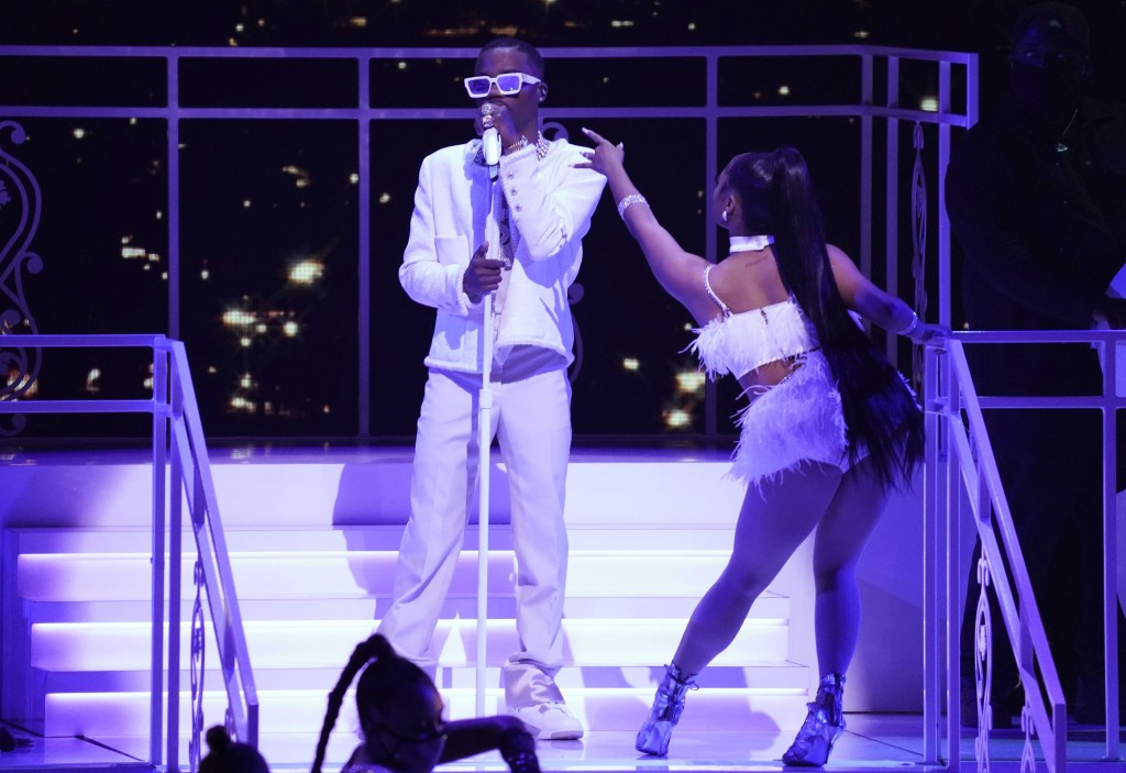 Roddy Ricch performs at the BET Awards on Sunday, June 27, 2021, at the Microsoft Theater in Los Angeles. (AP Photo/Chris Pizzello)