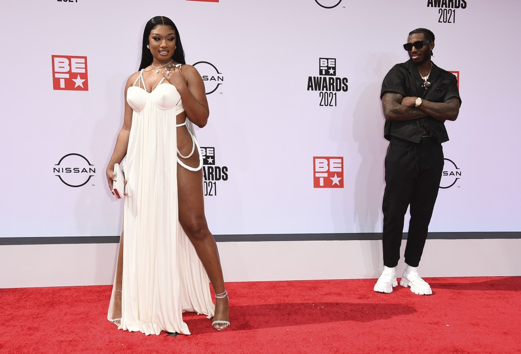 Megan Thee Stallion, left, and Pardison Fontaine arrive at the BET Awards on Sunday, June 27, 2021, at the Microsoft Theater in Los Angeles. (Photo by...