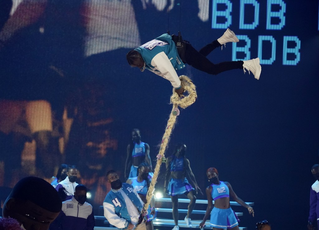 DaBaby performs at the BET Awards on Sunday, June 27, 2021, at the Microsoft Theater in Los Angeles. (AP Photo/Chris Pizzello)
