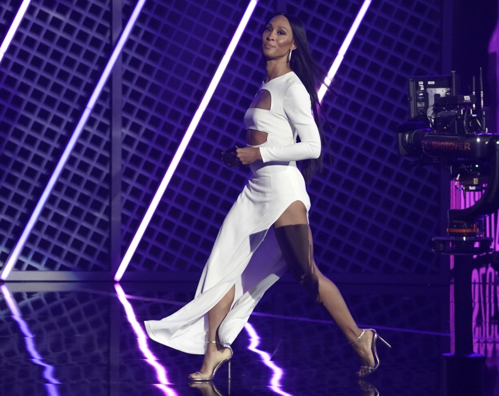Mj Rodriguez walks on stage to present the BET Her award at the BET Awards on Sunday, June 27, 2021, at the Microsoft Theater in Los Angeles. (AP Phot...