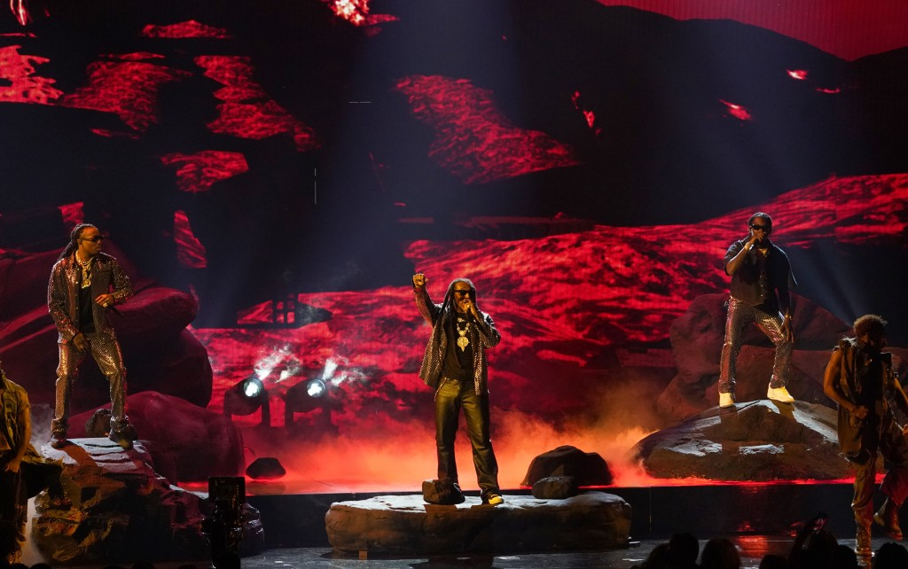 Quavo, from left, Takeoff and Offset, of Migos, perform at the BET Awards on Sunday, June 27, 2021, at the Microsoft Theater in Los Angeles. (AP Photo...