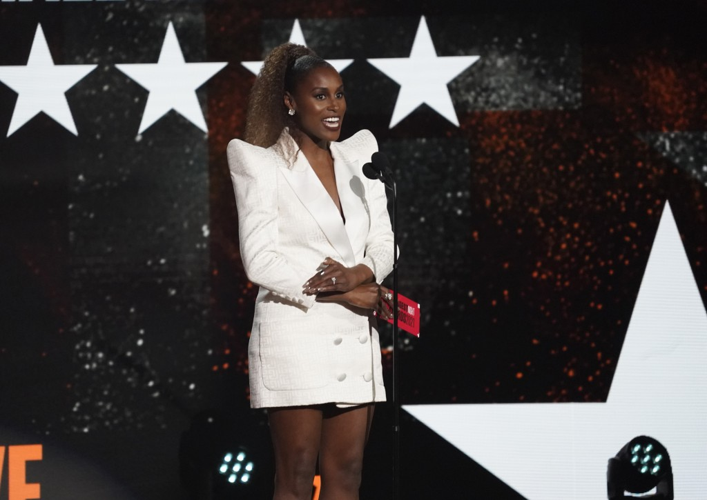 Issa Rae presents the best female hip hop artist award at the BET Awards on Sunday, June 27, 2021, at the Microsoft Theater in Los Angeles. (AP Photo/...