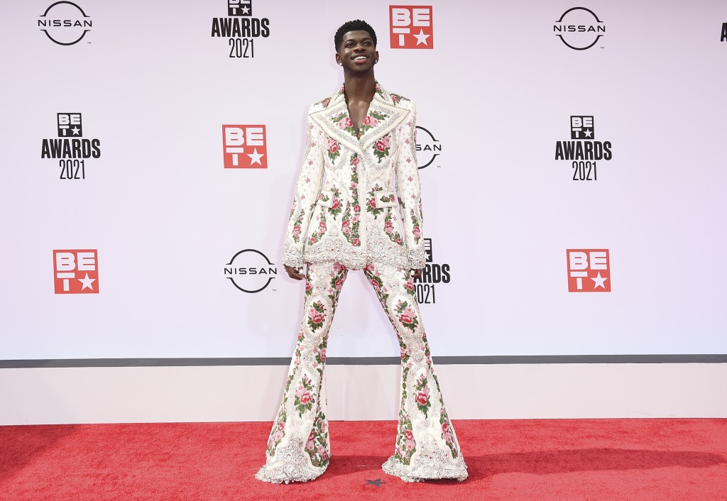 Lil Nas X arrives at the BET Awards on Sunday, June 27, 2021, at the Microsoft Theater in Los Angeles. (Photo by Jordan Strauss/Invision/AP)