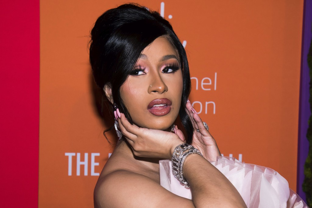 FILE - In this Sept. 12, 2019 photo, Cardi B attends the 5th annual Diamond Ball benefit gala at Cipriani Wall Street in New York.  Cardi B and husban...