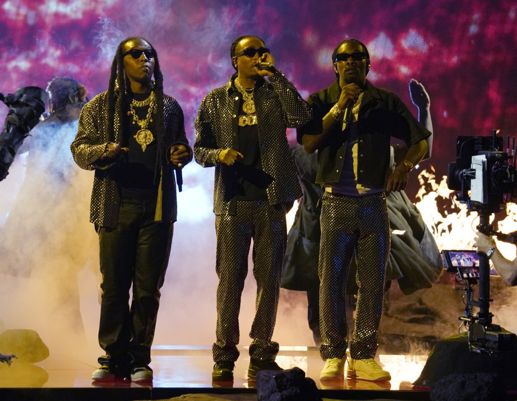 Takeoff, from left, Quavo and Offset, of Migos, perform at the BET Awards on Sunday, June 27, 2021, at the Microsoft Theater in Los Angeles. (AP Photo...