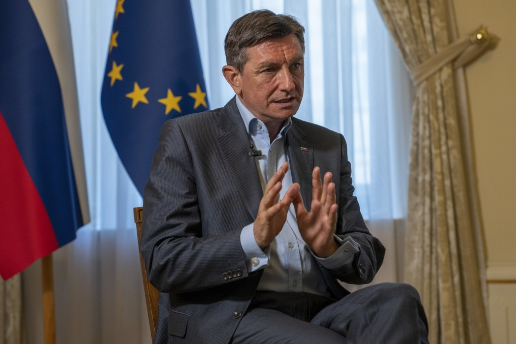 Slovenia's President Borut Pahor talks during an interview with the Associated Press at his office in Ljubljana, Slovenia, Tuesday, June 29, 2021. Slo...