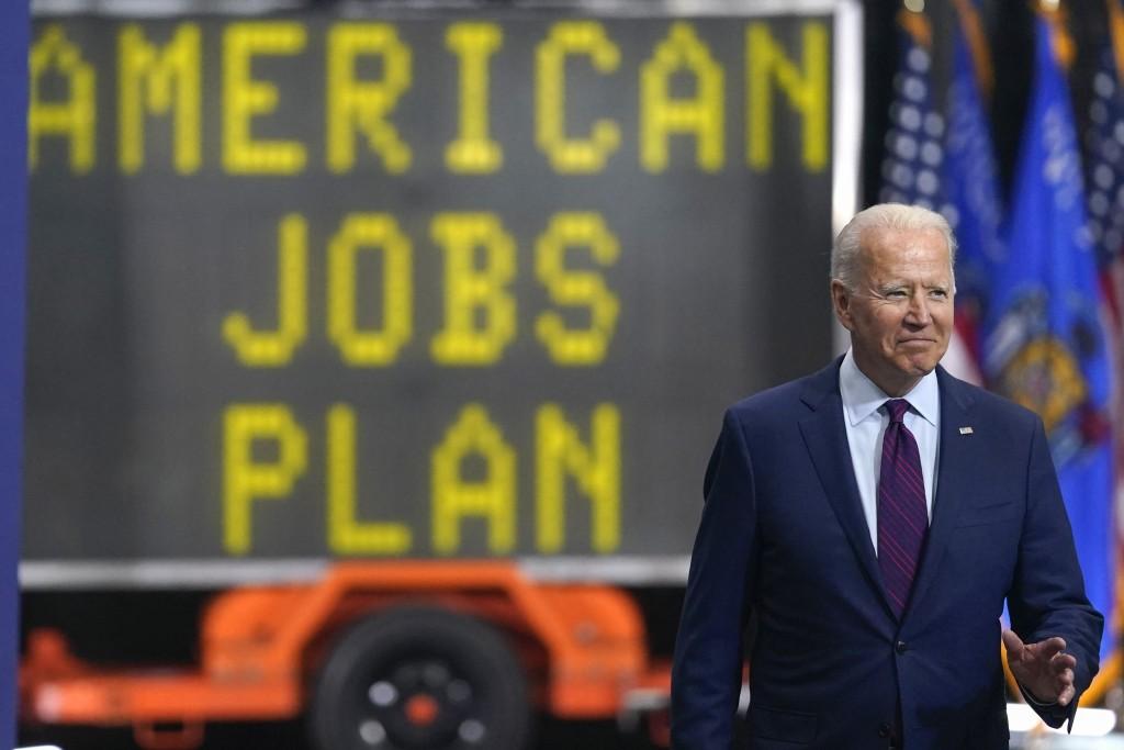 President Joe Biden arrives to speak about infrastructure spending at the La Crosse Municipal Transit Authority, Tuesday, June 29, 2021, in La Crosse,...