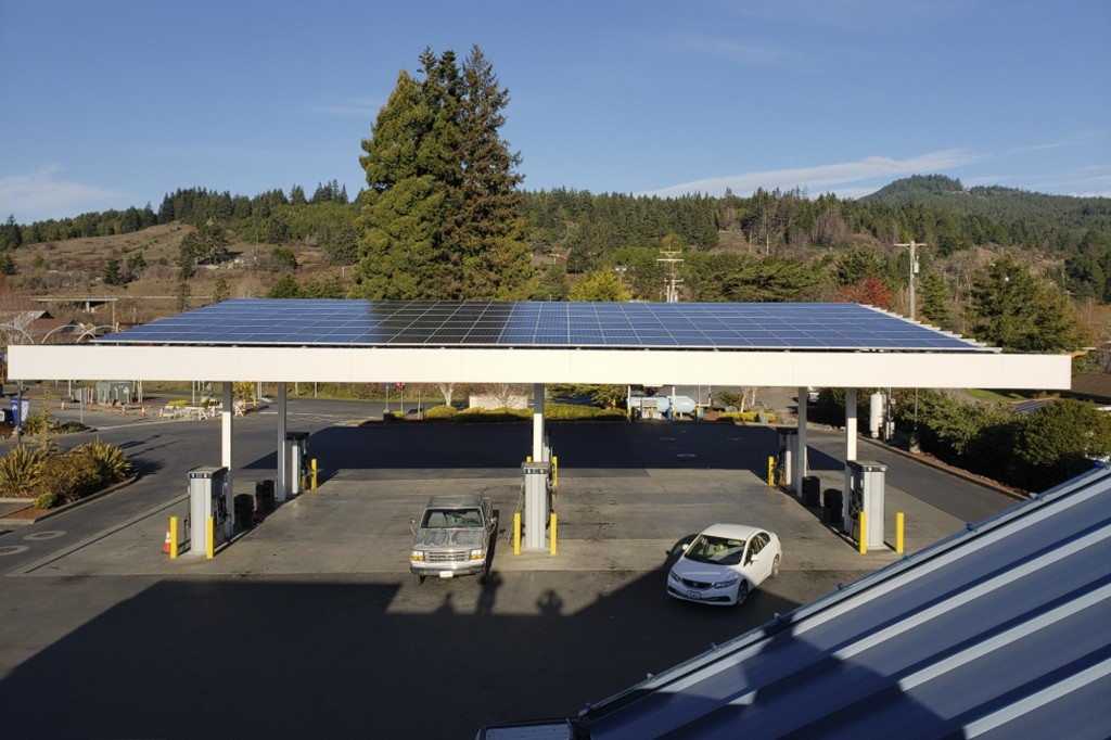 This photo provided by the Blue Lake Rancheria shows a solar array on top of a fuel island canopy that is paired with a microgrid in Blue Lake, Calif....