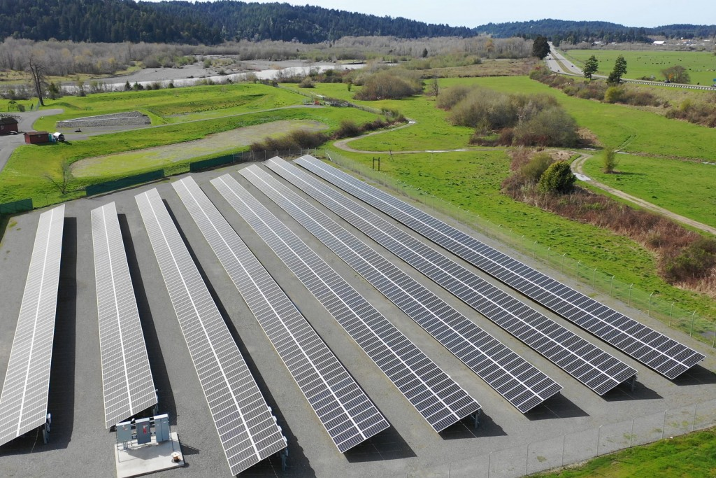 This aerial photo provided by the Blue Lake Rancheria shows a solar array that is paired with a microgrid in Blue Lake, Calif., in 2017. A Native Amer...