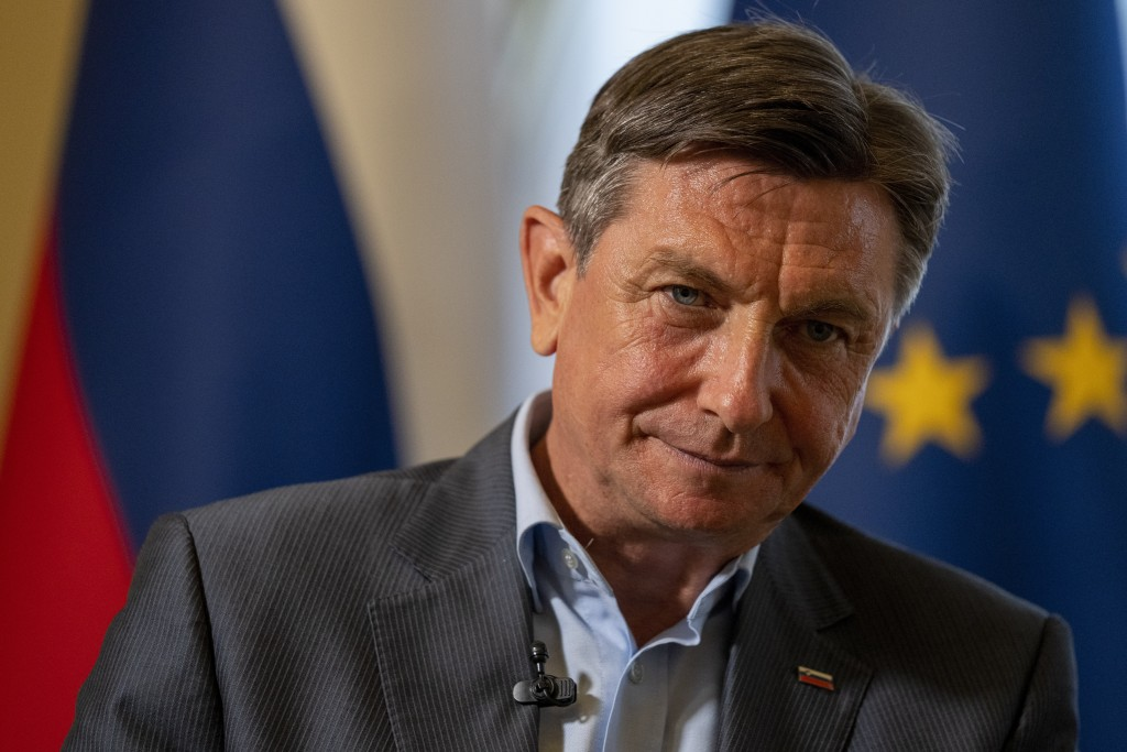 Slovenia's President Borut Pahor listens to a question during an interview with the Associated Press at his office in Ljubljana, Slovenia, Tuesday, Ju...