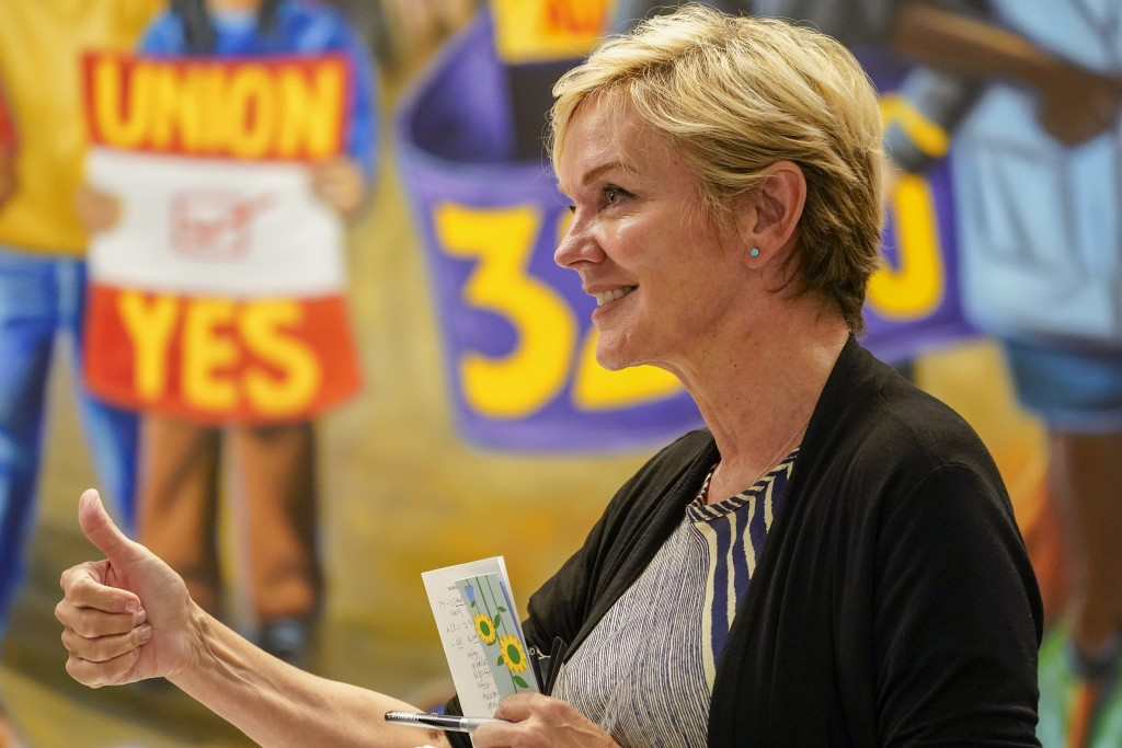 Secretary of Energy Jennifer Granholm gestures during a roundtable discussion at the Service Employees International Union 32BJ, Tuesday, June 29, 202...