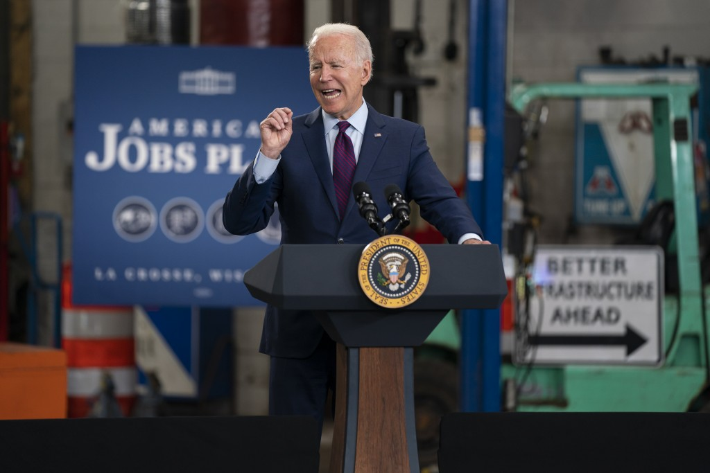 President Joe Biden speaks about infrastructure spending at the La Crosse Municipal Transit Authority, Tuesday, June 29, 2021, in La Crosse, Wis. (AP ...