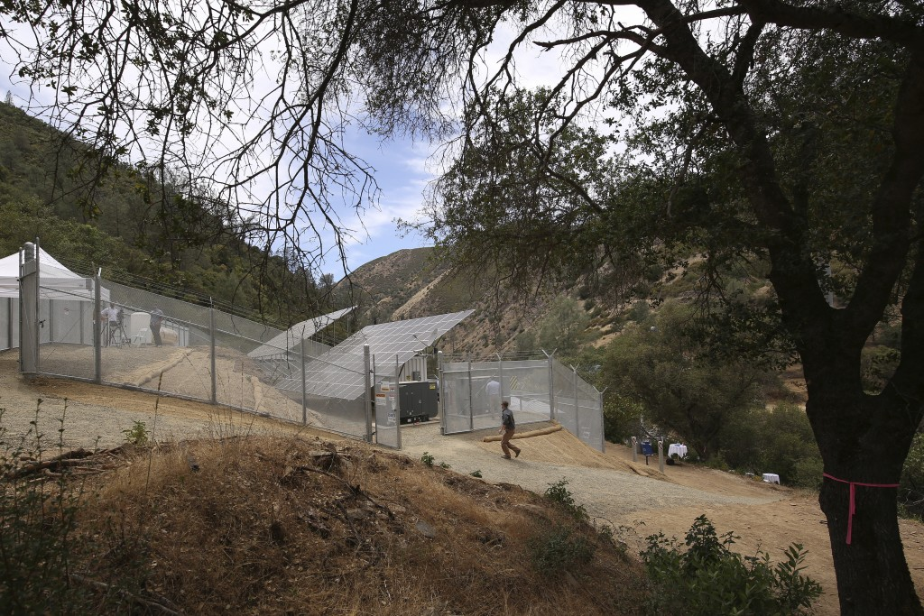Pacific Gas & Electric's new Remote Grid Initiative site is shown near Yosemite National Park in Briceburg, Calif., on June 7, 2021. When a wildfire t...