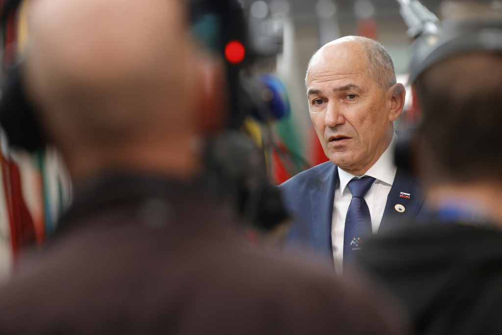 In this June 25, 2021 file photo, Slovenian Prime Minister Janez Jansa talks to journalists in Brussels. Slovenia takes over the European Union presid...