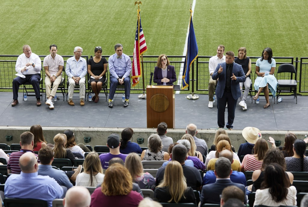 Oregon Governor Kate Brown announces the end of the state's COVID-19 restrictions in Portland, Ore., Wednesday, June 30, 2021. (AP Photo/Craig Mitchel...
